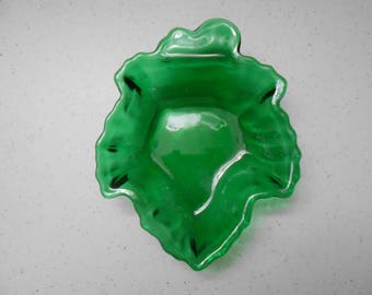 Anchor Hocking Forest Green Maple Leaf Candy Dish