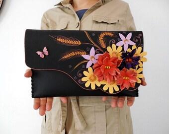 Flowers bouquet bag Boho leather bag Floral leather purse Collage purse Boho leather clutch Unique leather bag Bohemian bag OOAK purse