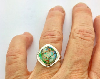 Monarch Opal Ring, Opal Ring, Sterling Opal Ring, Statement Ring