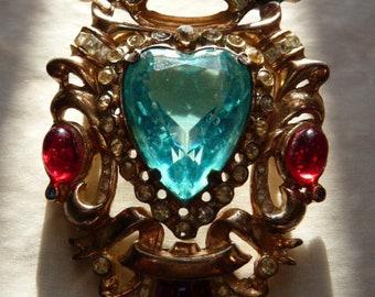 vintage Coro sterling shield crown and heart brooch pin   Gene Verrecchio design   blue aquamarine garnet ruby   1945   rare Coro sterling