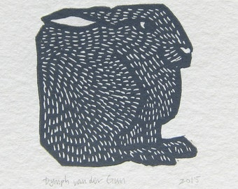 Hare linoprint, orange or blue