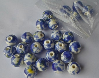 20 Blue & Green Paint Splattered Round Porcelain Ceramic Bead 12mm P27