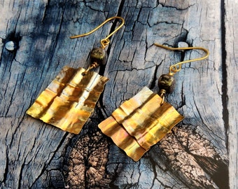 Fold forming earrings, Ethnic earrings, brass earrings, boho earrings, gift for her, square stones, mother's day gift