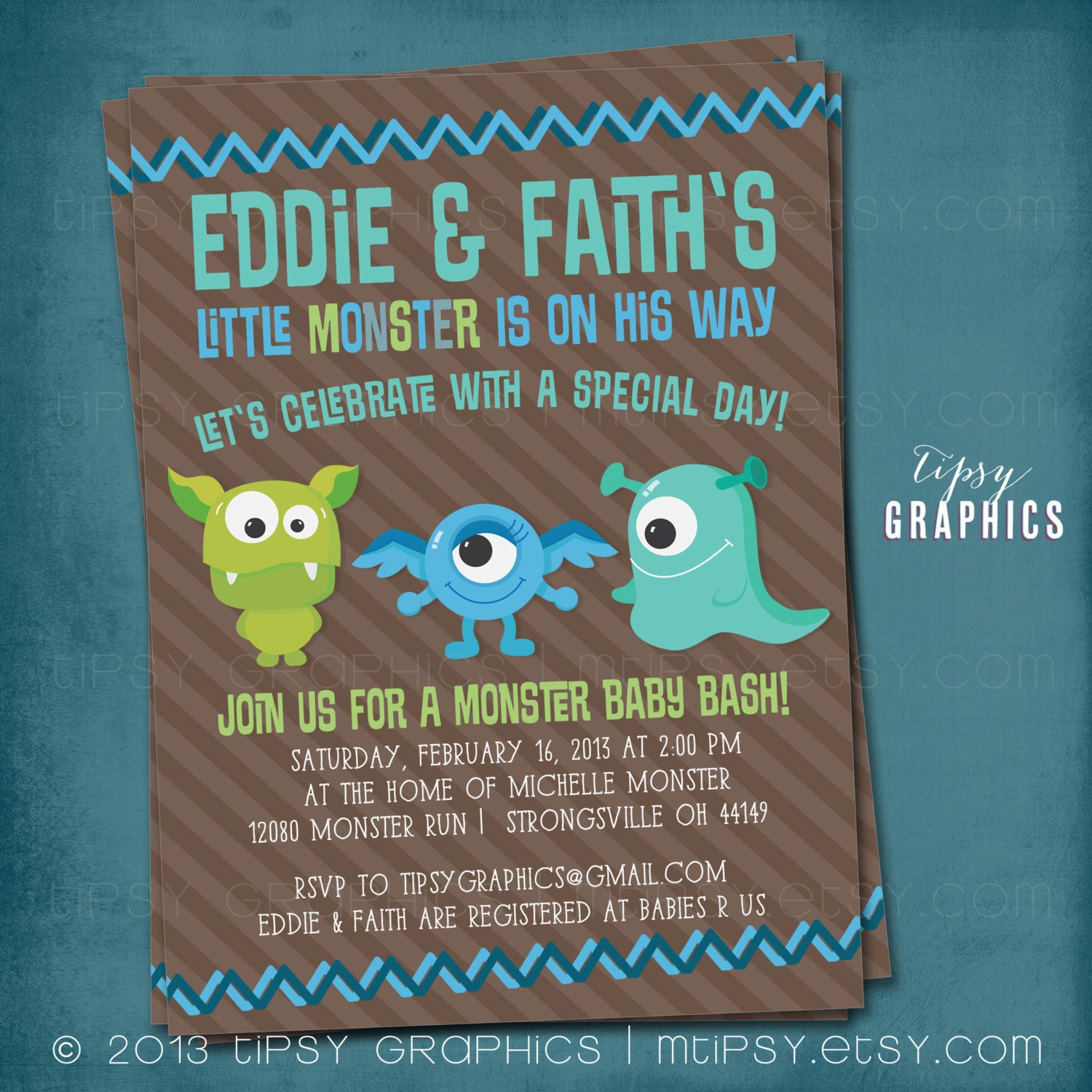 Monster Baby Bash. Baby Shower or Birthday Party Invitation.