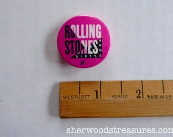 """198,Rolling Stones Dirty Work  Stones Promo Pin  MICK JAGGER Rolling Stones  1 1/4"""""""" inches PARIS"""