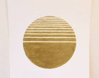 Original Metallic Gold Geometric Art