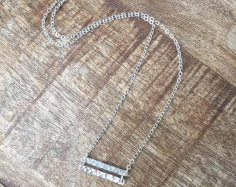 Equality Hammered Bar Necklace Sterling Silver, 14K Rose Gold-filled, 14K Yellow Gold-filled
