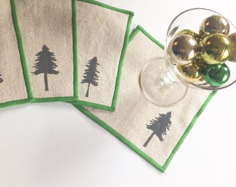 Pacific Northwest Evergreen Tree Cocktail Napkin Set of Four-Handmade in Seattle- 100% cotton cloth coaster, Holiday Hostess Gift
