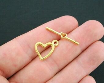 10 Heart Toggle Clasp Sets 2 Piece Set Antique Gold Tone - GC462