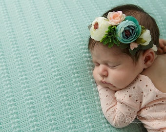 Feeling Pretty - darling floral crown tieback in mint, aqua, peach, cream and pink (RTS) adjustable size