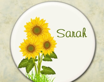 Custom Pocket Mirror, Bridesmaid Gift, Shower or Wedding Favor, Personalized, Sunflower