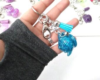Teapot Keychain with Tassel, Blue sparkly, Kawaii Charm, tea lover, tea time, backpack charm