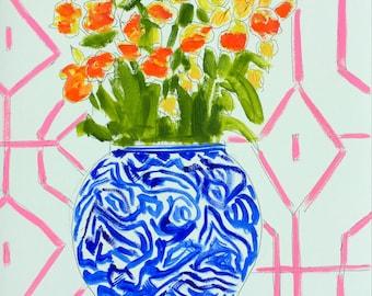 Ginger Jar Print, Blue and White Vase, Floral, Art Print, Still Life, Home Decor, Art Decor