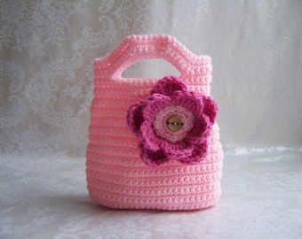 Crochet Purse for Girls, Crochet Purse, Pink Purse, Flower Purse, Purse with Handles