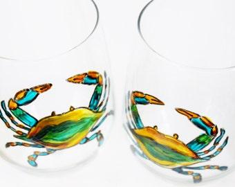Maryland Blue Crab Wine Glass, Hand Painted Wine Glasses, Maryland Wine Glass, chesapeake bay, Beach Wine Glass, Wine Gift