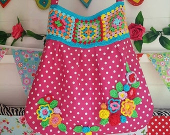 Oh Happy Days Bag, large shoulder bag, Granny Squares, Crocheted Flowers