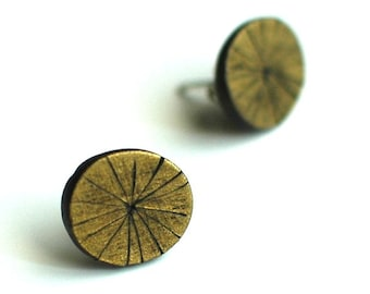 Artisan studs, art jewelry, metallic, textured, Brass Tacks post earrings