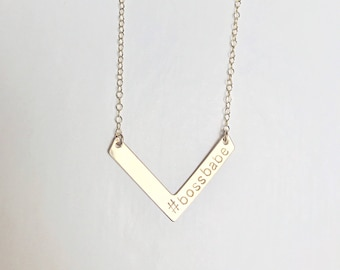 necklace // 14k gold filled chevron bar with customized initial(s), name, letters, numbers, date stamped engraved on 14k gold filled chain