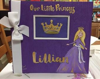 Little Princess Baby Memory Book   Princess Baby Keepsake Book   Purple and Gold Pretty Purple Baby Memory Book