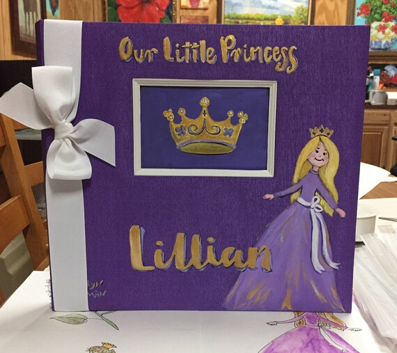 Little Princess Baby Memory Book | Princess Baby Keepsake Book | Purple and Gold Pretty Purple Baby Memory Book
