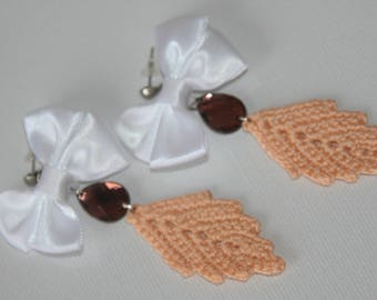 Crochet elegant cotton earrings