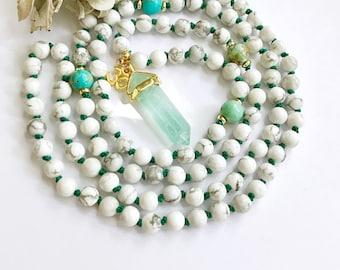 Knotted Mala Necklace, Prayer Beads, Mala Beads, Mala Necklace, 108 Mala Beads, Hand Knotted Mala, Japa Mala, Meditation Beads, Yoga, MKHO