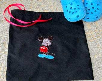 Drawstring Bag, Black Cotton, Mickey Mouse Bag, Embroidered, Textile bag Fabric bag