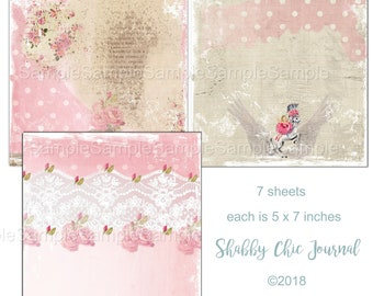 5x7 inches Shabby Chic Journal Papers - Printable Digital Collage Sheets -Download - Digital Art, Crafts, Scrapbooking