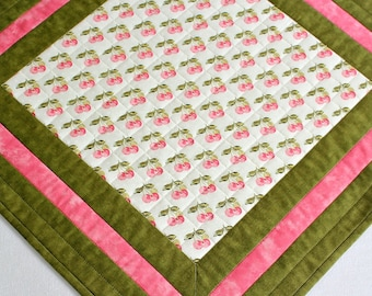 Quilted Table Topper, Cherries, Pink Green White, Kitchen Table Quilt, Quiltsy Handmade