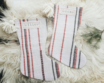 Red and Black Striped Vintage Hmong Christmas Stockings - Modern Farmhouse Christmas Décor - Grain Sack Style Stockings