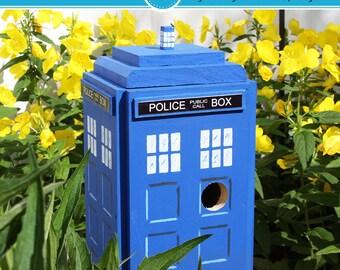 British Police Box Bird House, NIRDHOUSE, TARDIS, Doctor Who, Birdhouses, Outdoor Birdhouses, Unique Birdhouses, Garden decor, Garden gift