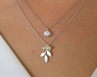 Silver Leaf Initial Freshwater Pearl Personalized Necklace