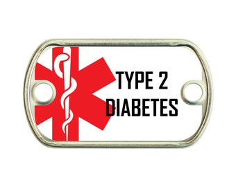 Type 2 Diabetes Medical Alert 2 Holes Stainless Steel Mini Dog Tag For Paracord Bracelets
