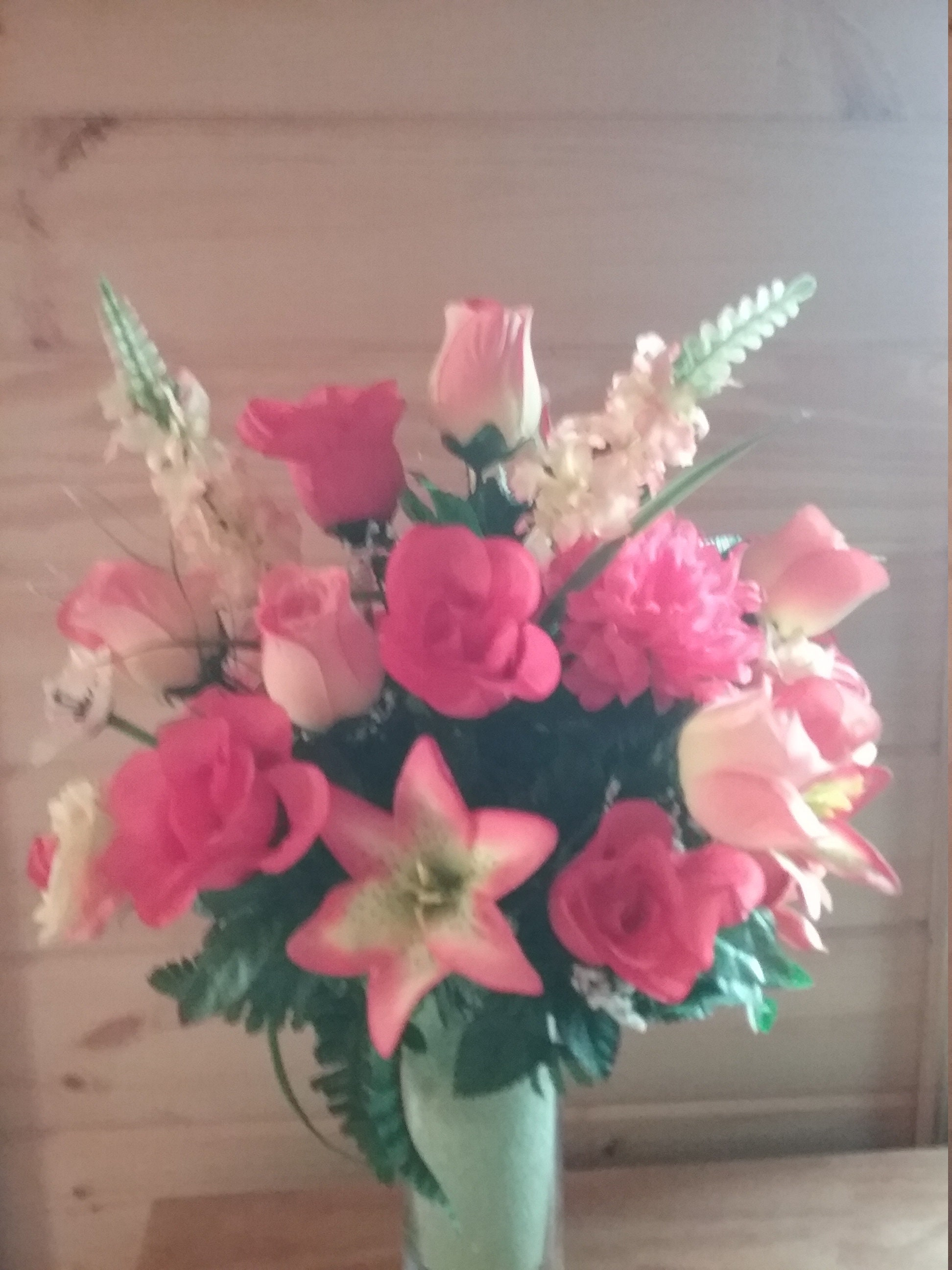 Memory Vase Peach And Coral Roses Dahlias Lillies
