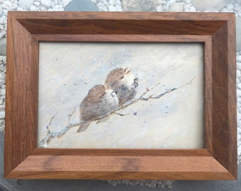 Hand Painted Study of Two Birds on a Branch