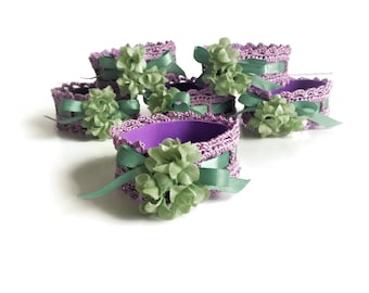 Purple Napkin Rings, Set of Six Crochet Napkin Rings, Spring Flowers Napkin Holders