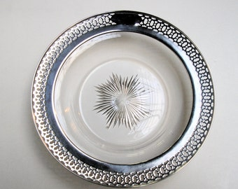 Vintage STERLING & CUT GLASS Bowl – Reticulated Rim