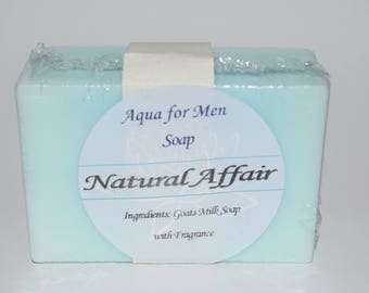 Free Shipping! Handmade Aqua for Men Goats Milk Soap by Natural Affair