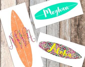 Surfboard Decal - surf decal, surfing monogram, surfing decal, surfboard monogram, beach decal, yeti decal, beach monogram, yeti monogram