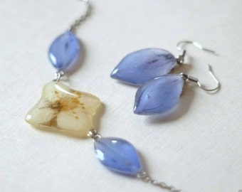 Flower jewelry set jasmine delphinium dried flowers blue earrings flower necklace herbarium botanical jewelry pressed flower Valentine's day