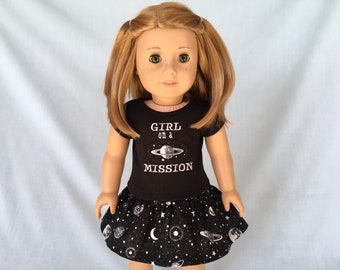 Girl on a Mission T-Shirt and Galaxy Skirt for American Girl/18 Inch Doll