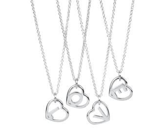 Sterling Silver Love Letter Pendant- Initial Heart Necklace