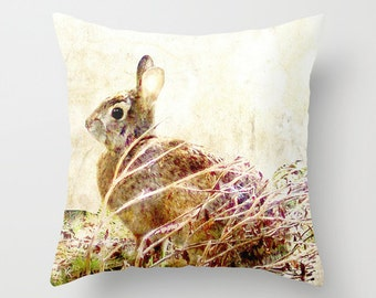Outdoor Pillow Cover with Pillow Insert, Outdoor Pillow Cover, Bunny Time