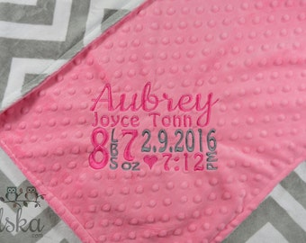 Personalized Baby Blanket, Minky Blanket, Personalized Birth Stat Blanket, Baby Blanket, Choose Your Colors, Choose Your Size