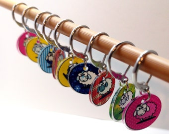 Silly Sheep, Knitting stitch markers, Crochet stitch markers, Snag-free stitch markers, Knitting Markers, Progress Keepers