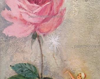 Vintage Birthday Card Unused 1950's Pink Birthday Fairy NOS Mid Century