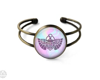 Mystic Scarab Beetle Cuff Bracelet | Egyptian Bangle, Egyptian Jewelry, Ancient Egypt, Scarab Bracelet, Seapunk, Bohemian Jewelry, Pastel
