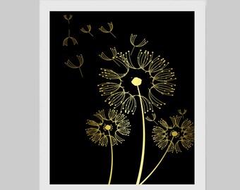 Make a Wish Dandelion Image Framed Gold leaf Print