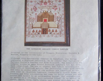 Catharine Wallace Currie Sampler  Embroidery Kit - Forget Me Knot Faithful Reproduction Canadian Samplers 17.5 in. X 16 in. 28 New Unopened