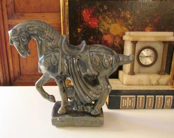 Vintage Trojan Horse, 1960's Ceramic Horse Statue, Hollywood Regency, Blue Horse, Chinoiserie Decor, Palm Beach Decor